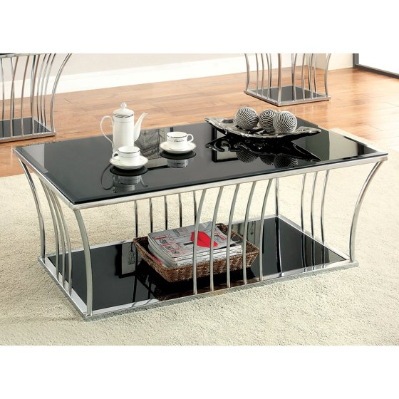 Furniture Of America Arsoli Beveled Glass Top Coffee Table