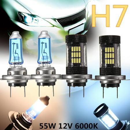 2X H7 55W 6000K 57 LED Bulbs & 2X 100W Halogen Lamps Head Light Bulbs Bright US