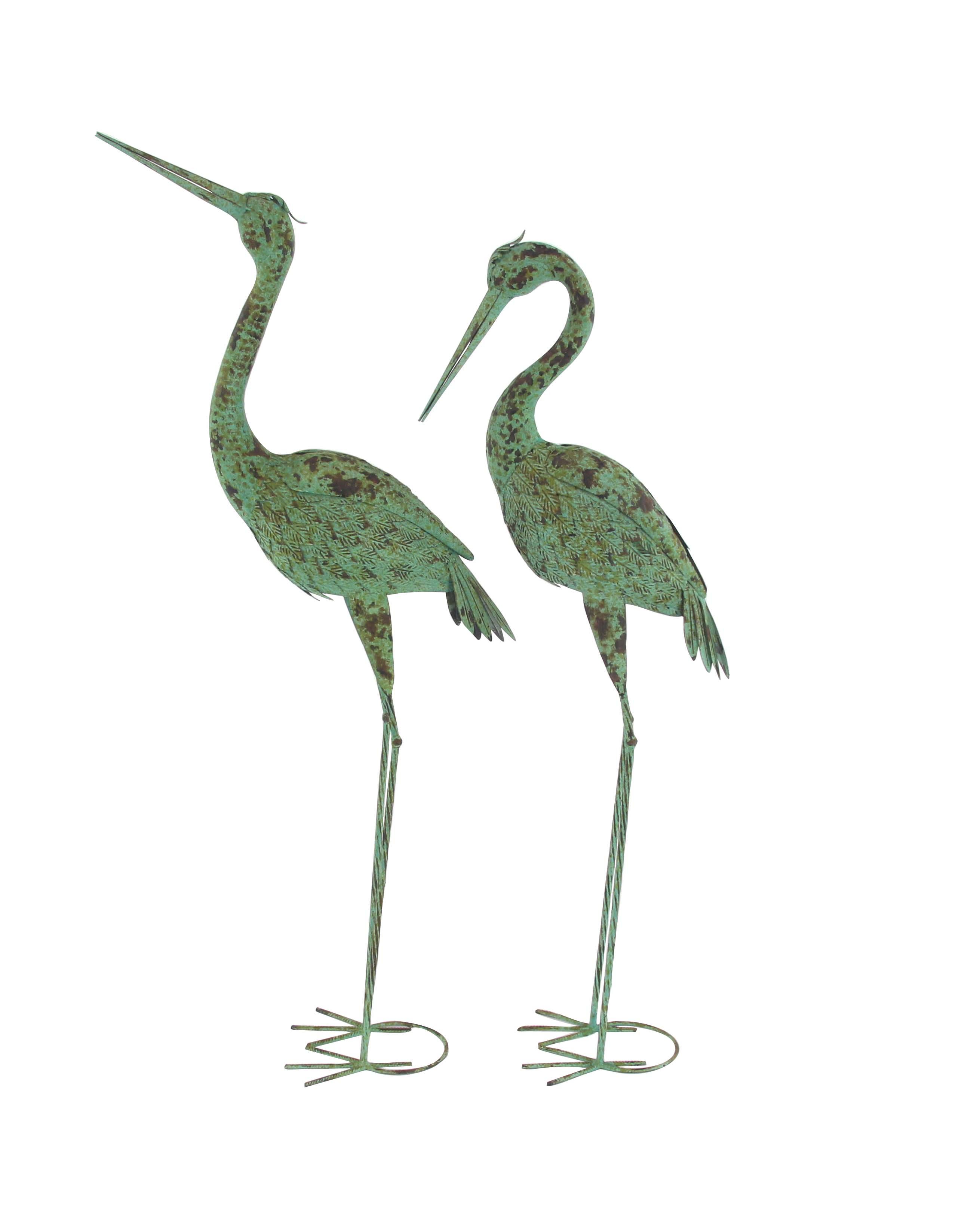 Decmode Pair of Rustic Iron Standing Garden Crane Sculptures, Green by DecMode