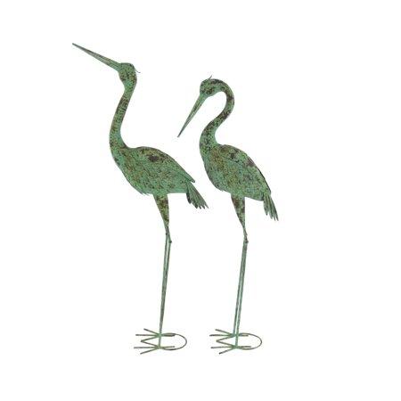 Decmode Pair of Rustic Iron Standing Garden Crane Sculptures, Green (Childhood Garden Sculpture)