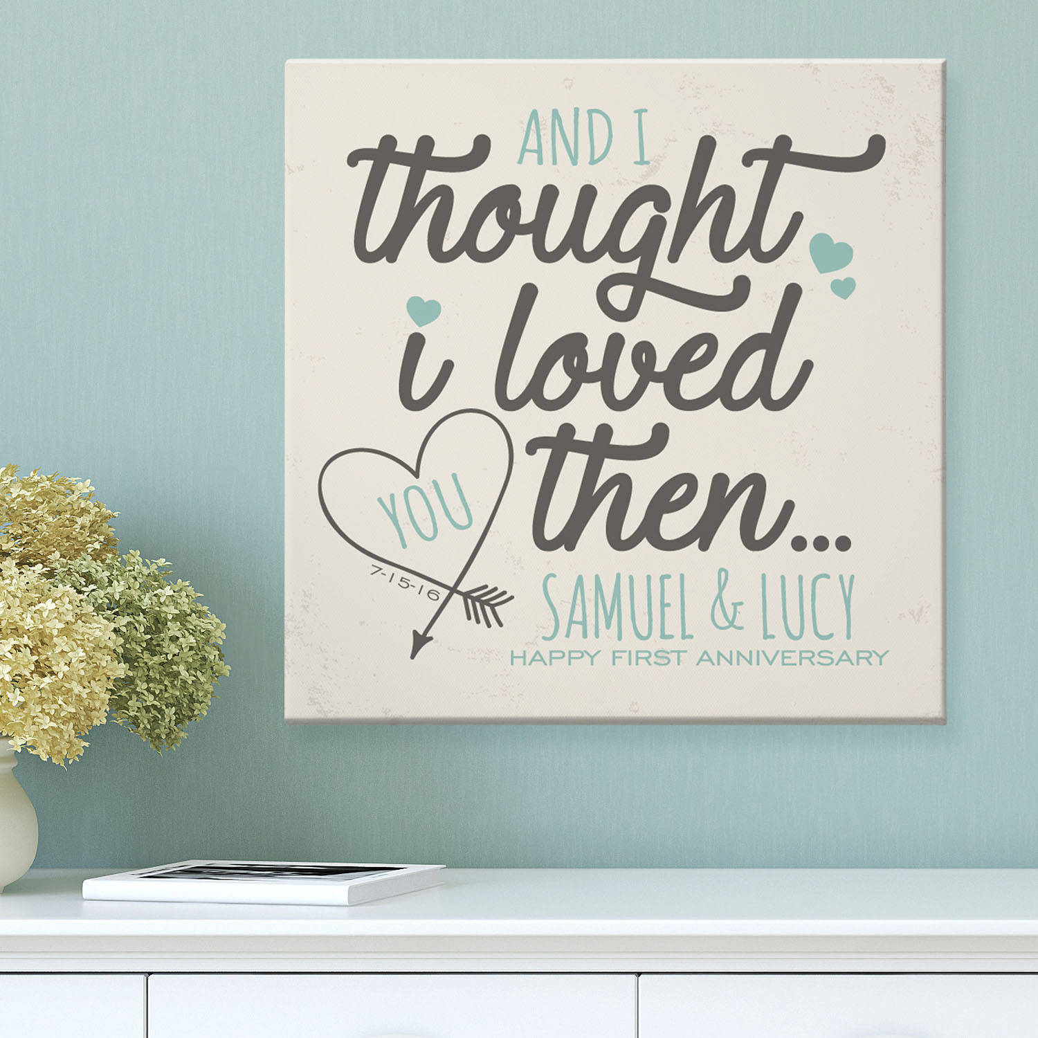 "Personalized Loved You Then Anniversary Canvas, 11"" x 11"""