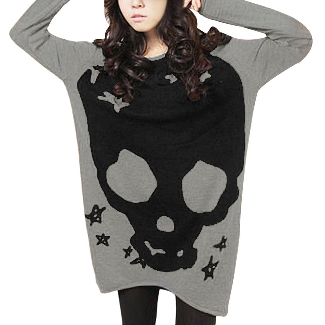 Allegra K Women's Long Sleeve Loose Pullover T-shirts Gray (Size XL / 16)