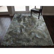 8' x 10' Feet Shaggy Shag Fancy Collection Hand Woven Sage Olive Green Color Area Rug Carpet Rug Solid Plush Bedroom Living Room Office Space Decorative Designer Cozy Feel Fluffy Fuzzy Furry