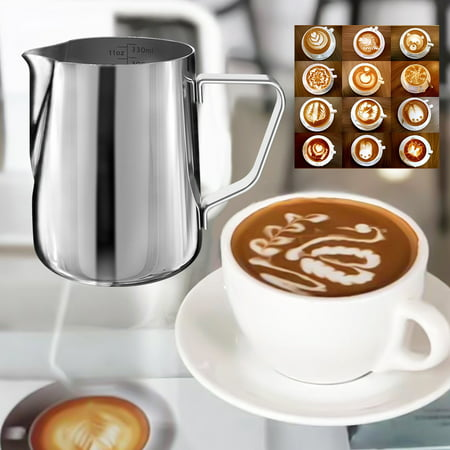 Stainless Steel Frothing Steaming Pitcher Garland Cup 350ml for Espresso Machine, Coffee Milk Frother and Latte (Stainless Steel Frothing Steaming Pitcher)