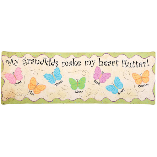 "Personalized Heart Flutter Butterfly Canvas, 6"" x 18"""
