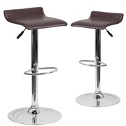 Contemporary Vinyl Adjustable Height Barstools with Sled-Style Seat and Chrome Base, Set of 2, Multiple Colors