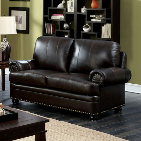 Transitional Fabric Upholstery Loveseat in Brown Reinhardt Furniture of America