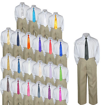 23 Color 3 pc Khaki Set Necktie Shirt Pants Boy Baby Toddler Kid Formal Suit S-7 - Blue And Yellow Cheerleader Outfit