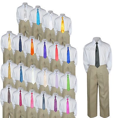 23 Color 3 pc Khaki Set Necktie Shirt Pants Boy Baby Toddler Kid Formal Suit S-7