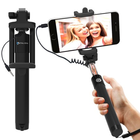 selfie stick stalion selfy handheld extended wired mono pod portrait taker video recorder. Black Bedroom Furniture Sets. Home Design Ideas