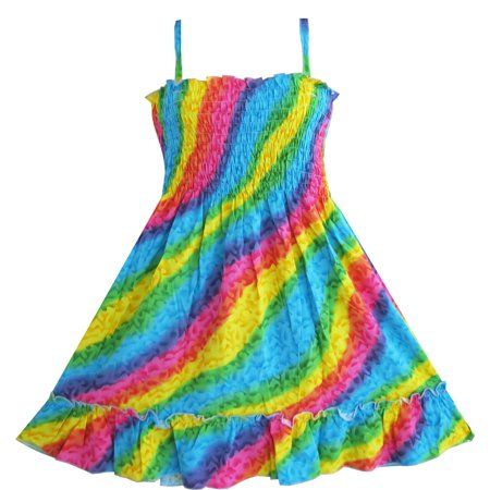Girls Dress Rainbow Smocked Halter Children Clothing 2-3 You are viewing a girls smocked dress halter. Very beautiful and comfortable. Please check the measurement carefully before your purchase.Size MeasurementSizeBustWaistLength2-3  free  free  23.6''/60cm4-5  free  free  25.6''/65cm6-6X  free  free  27.6''/70cm7-8  free  free  29.5''/75cm9-10  free  free  31.5''/80cmSunny Fashion is a brand specialized on flower girls dresses, everyday girls dresses, girls dancing dresses, formal girls dresses, pageant girls dresses, party girls dresses, wedding girls dresses, princess girls dresses and bridesmaid girls dresses. We also have special occasion girls dresses for Holidays, Easter, Christmas, Birthday Party and Halloween.