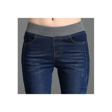 2ed8f750f09 DAYUE - Women Jeans Denim Elastic Waist Blue Stretch Plus Size Slim Skinny  Jeans Trousers for Women High Waisted Pencil Pants S-6XL 46ZDCP4485 -  Walmart.com