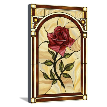 Rose Stained Glass Stretched Canvas Print Wall Art By Lantern Press ()