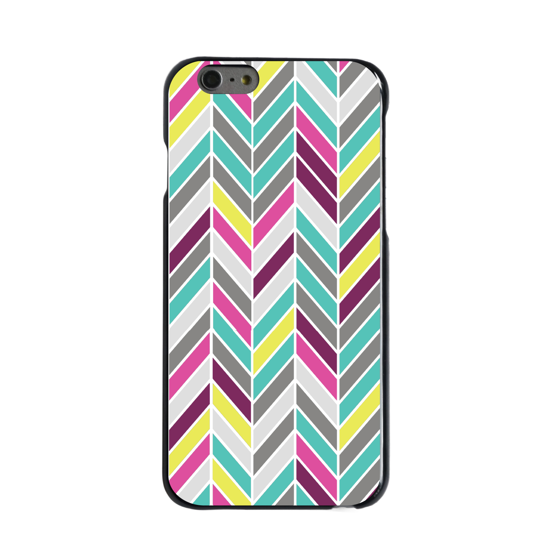 "CUSTOM Black Hard Plastic Snap-On Case for Apple iPhone 6 / 6S (4.7"" Screen) - Pink Purple Teal Herringbone"