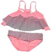 Girl Girls Pink Chevron Flounce Top Bottoms 2 Pc Swimsuit 7