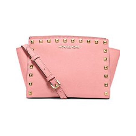 2664a0ce3e1a MICHAEL KORS Selma Medium Studded Saffiano Leather Messenger PALE PINK -  Walmart.com