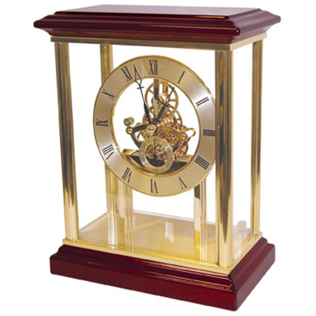 Mahogany Finish Belvedere Mantle Clock - Engravable Personalized Gift Item