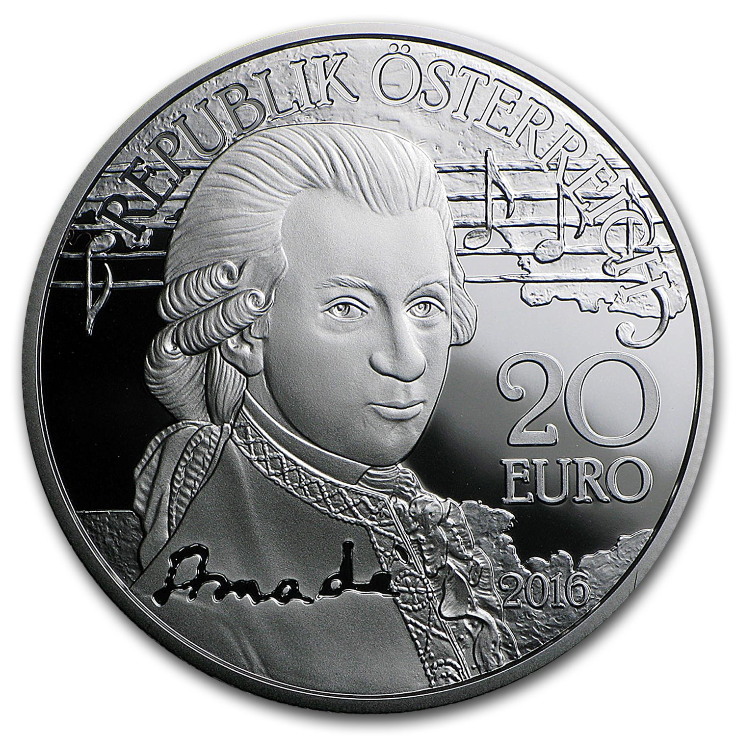 2016 Austria Proof Silver ?20 Amadeus Mozart (The Genius)