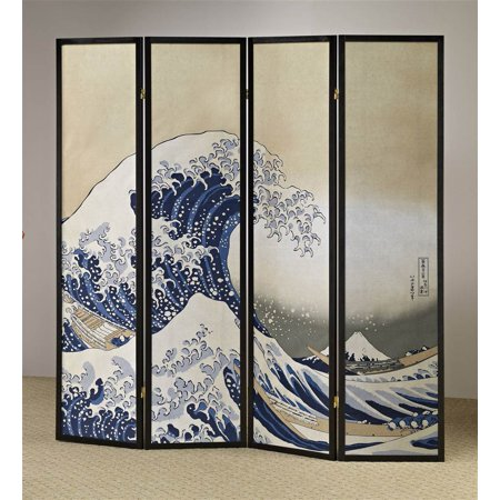 4-Panel Fukusai Wave Shoji Room Divider Screen - Walmart.com