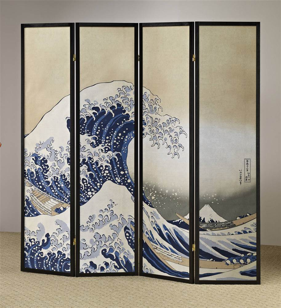 4-Panel Fukusai Wave Shoji Room Divider Screen