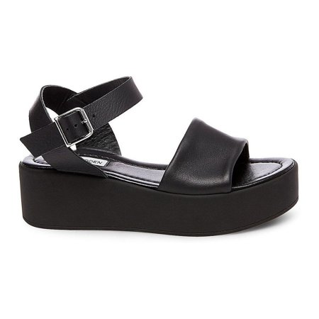 Steve Madden Women's Brenley Black Leather Platform Sandal
