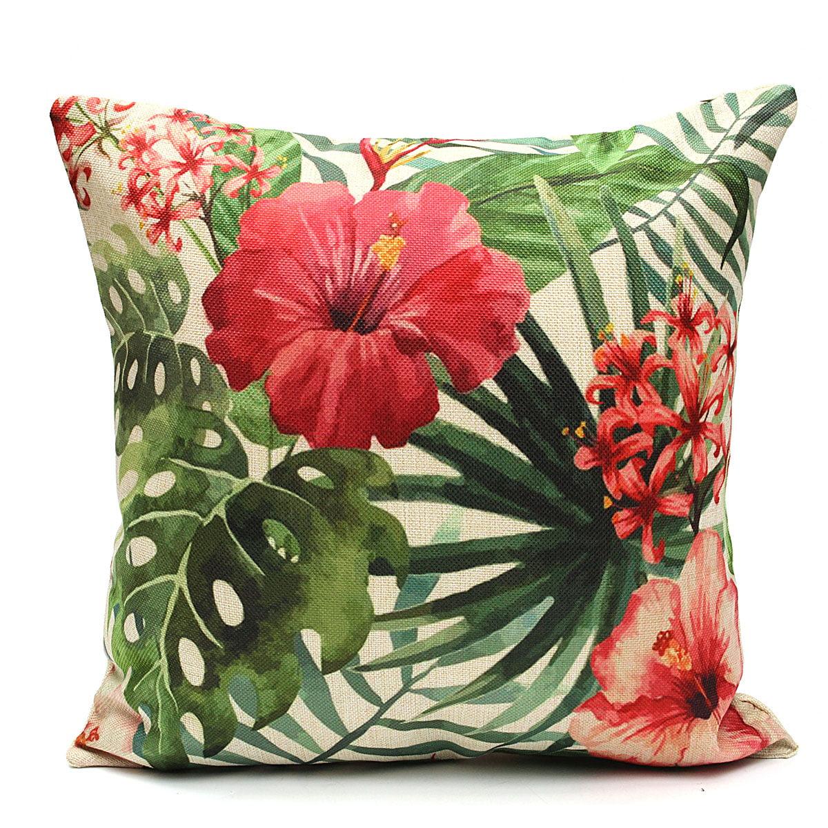 Tropical Plant Flamingo Cotton Linen Throw Pillow Case Cushion Cover Home Decor,... by