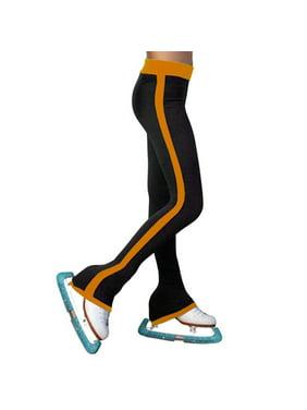 ChloeNoel Girls Gold Side Striped Ice Skating Pants 6-12 Adult XS-L