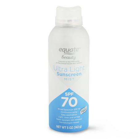 Equate Beauty Ultra-Light Continuous Spray Sunscreen Mist, Broad Spectrum, SPF 70, 5 oz