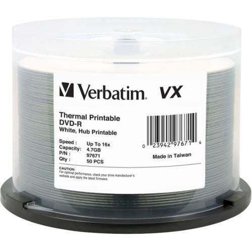 Verbatim 97671 DVD Recordable Media - DVD-R - 16x - 4.70 GB - 50 Pack Spindle - 120mm - Thermal Printable