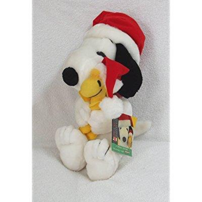 "RARE Peanuts Plush 17"" Christmas Holiday Snoopy Hugging Woodstock Doll from Kohls"