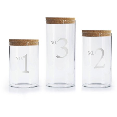 Numbers Set of 3 Canisters with Cork Lid, 10