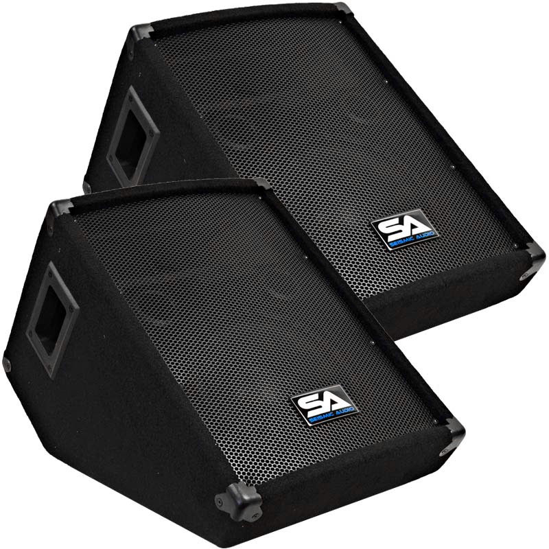 "Seismic Audio Two 10"" Floor Monitors Studio/Stage New PA/DJ Speakers - SA-10M"