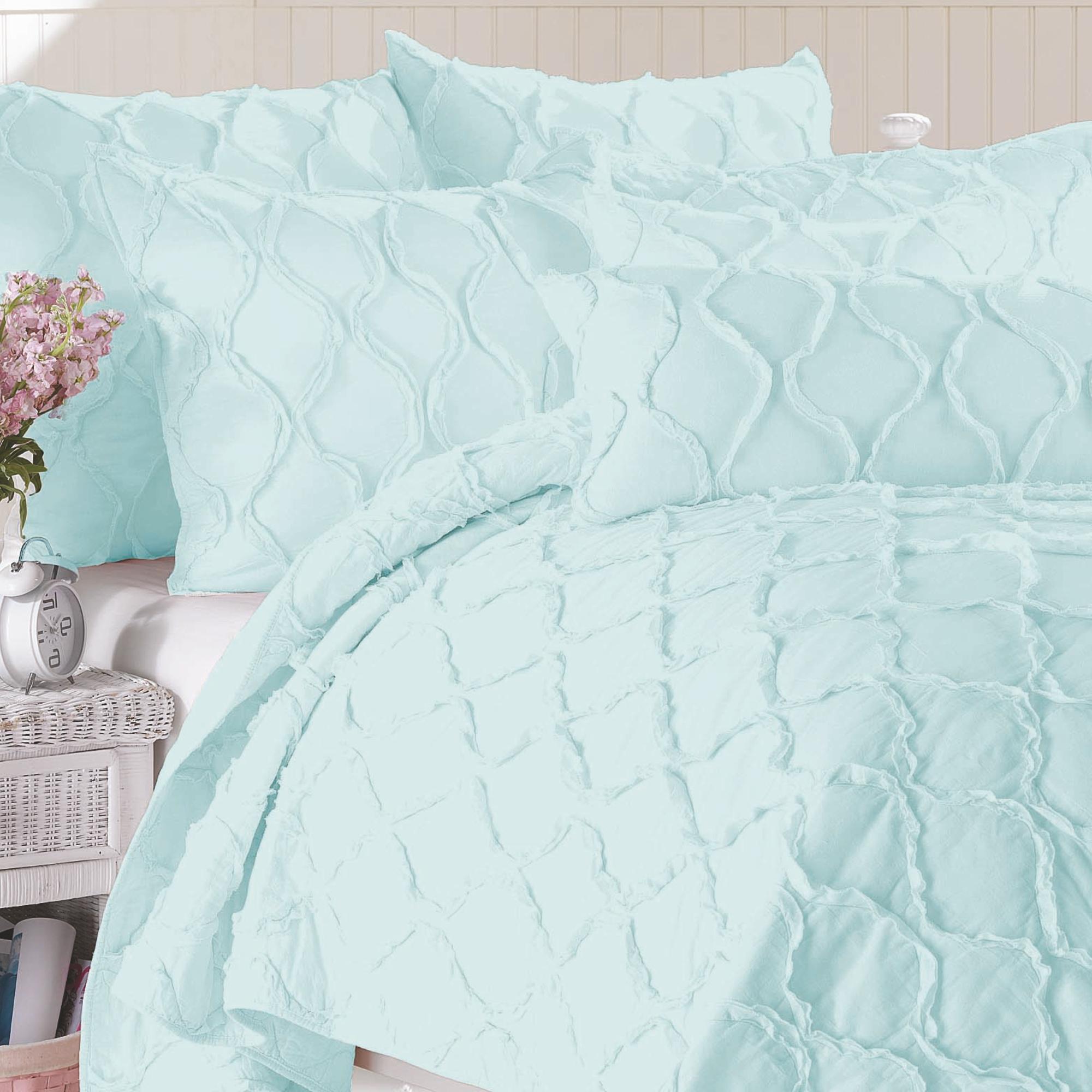 California Design Den Wavy S Cotton Bright White, Twin/Twin XL 2-Piece Ruffled Quilt Set
