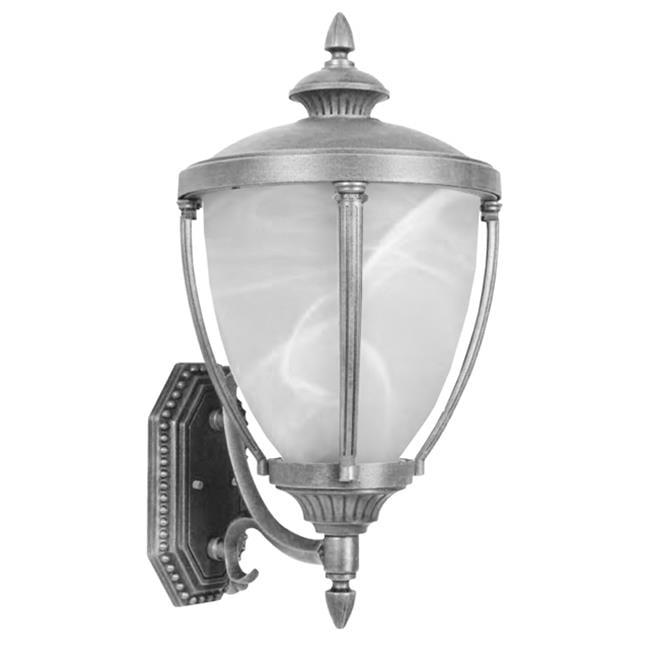 Hampton Large Bottom Mount Light w Alabaster Glass (Swedish Silver)