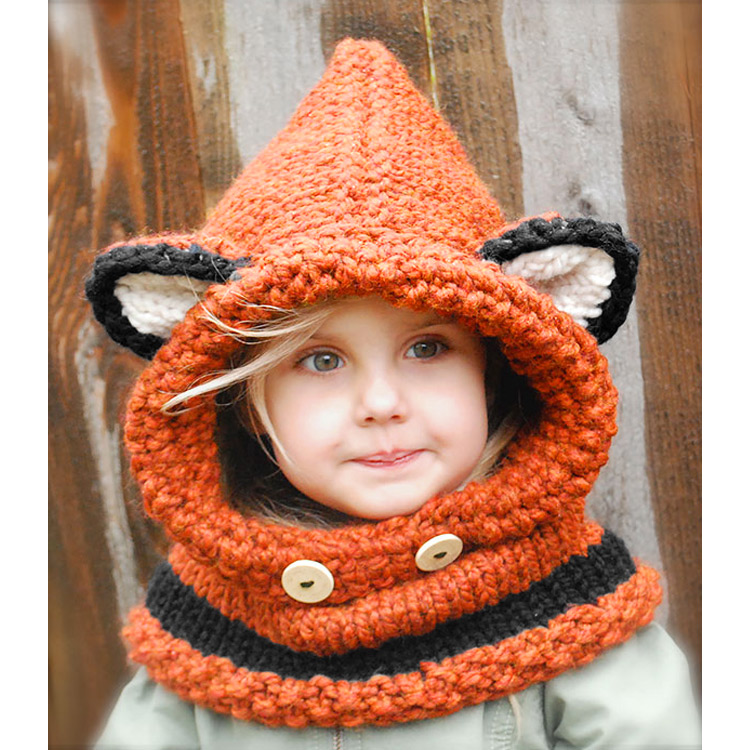 Baby Girls Boy Toddler Kids Winter Warm Fox Hooded Scarf Hat Knitted Crochet Cap