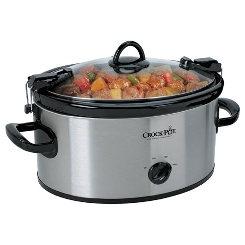 Crock-Pot Cook' N Carry 6-Quart Oval Manual Portable Slow Cooker, Stainless Steel, SCCPVL600S