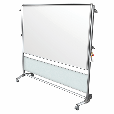 NEX206MW-FR Ghent Nexus Collaboration IdeaWall, Mobile 2-Sided Porcelain Magnetic Whiteboard, 46-inH x 70-inW