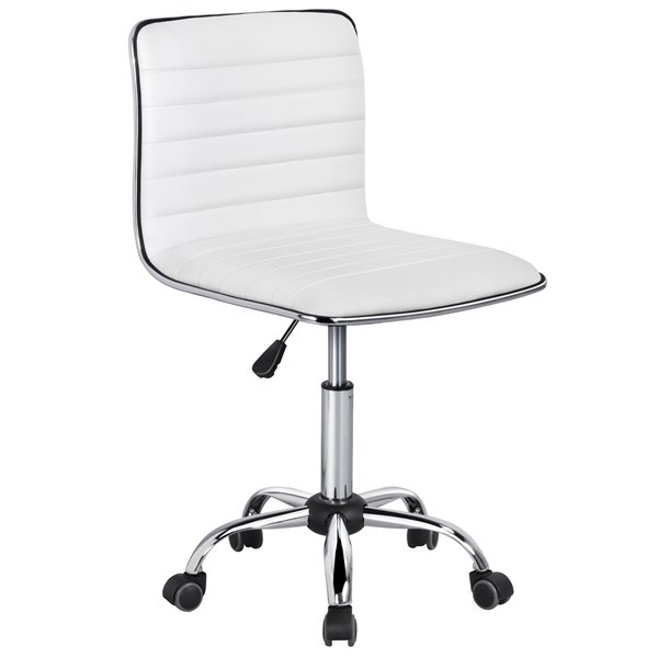 Yaheetech Adjustable PU Leather Low Back Armless Desk Chair Ribbed
