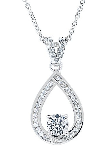 Cate & Chloe - Cate & Chloe Arabella 18k White Gold Halo Pendant Necklace, Simulated Round Cut Diamond Necklace, Sparkling Wedding Anniversary Necklace for Women, Girls, Sparkle CZ Solitaire Crystal...