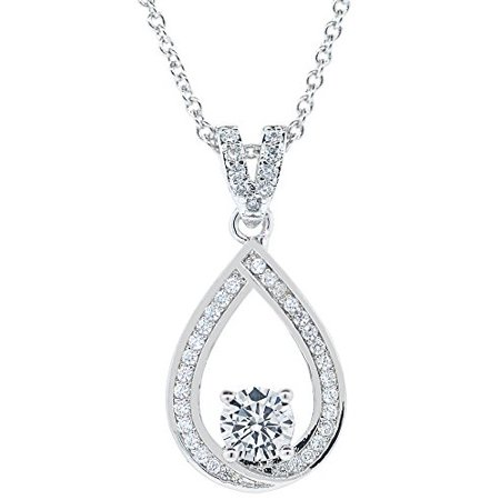 Cate & Chloe Arabella 18k White Gold Halo Pendant Necklace, Simulated Round Cut Diamond Necklace, Sparkling Wedding Anniversary Necklace for Women, Girls, Sparkle CZ Solitaire Crystal Teardrop