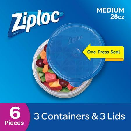 (2 pack) Ziploc Container Medium Round, 3 count