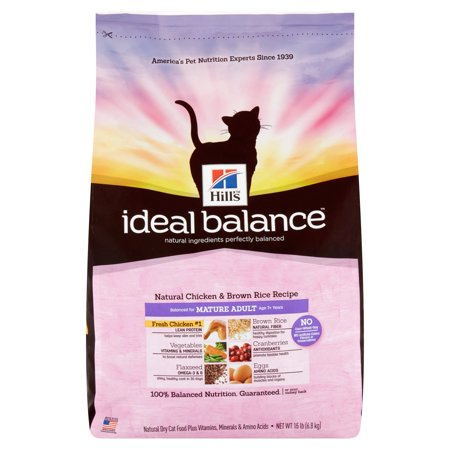 Hill's Ideal Balance Mature Adult Natural Chicken and Brown Rice Recipe Dry Cat Food, 15 lb Bag