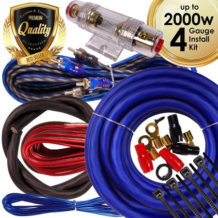 Complete 2000W 4 Gauge Car Amplifier Installation Wiring Kit Amp PK2 4 Ga Blue 4 Gauge Single Amplifier Wiring