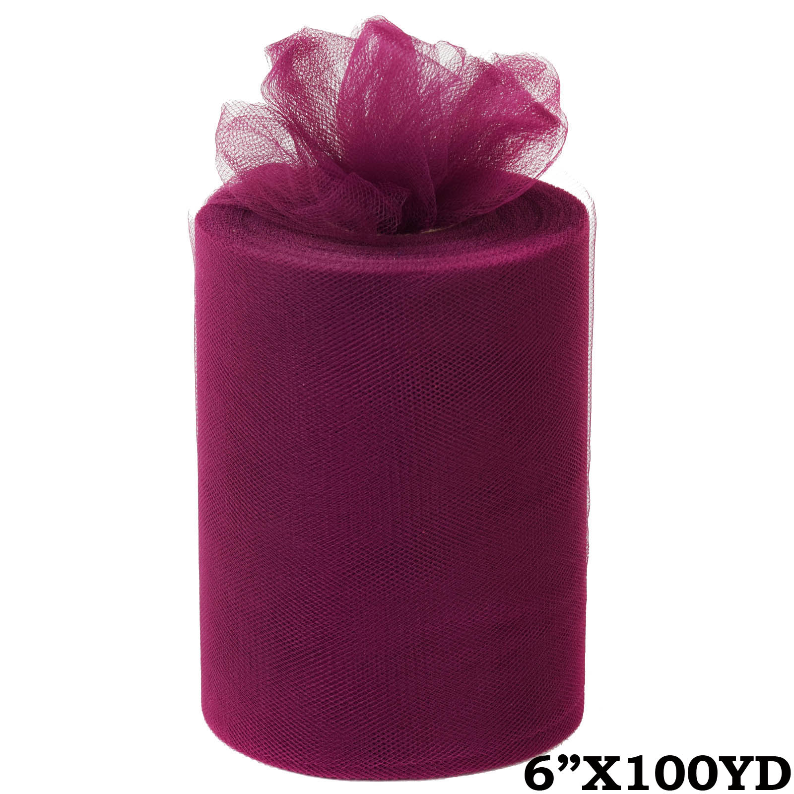 "6"" x 300 feet Wedding Tulle Roll For Crafting Favors Decor - Eggplant Purple"