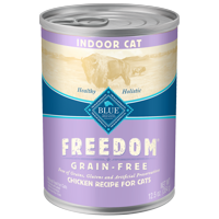 Blue Buffalo Freedom Grain Free Natural Adult Pate Wet Cat Food, Indoor Chicken, 12.5-oz cans