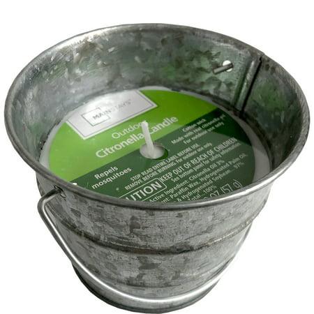Mainstays Mini Galvanized Bucket Outdoor Citronella Candle, 2 Oz.