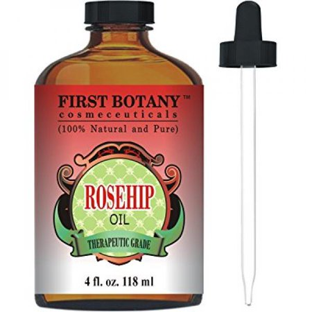 Rosehip Oil - 100% Pure Cold Pressed & Organic 4 fl. oz. - Best Moisturizer to heal Dry Skin & Fine Lines - Virgin Rose Hip Seed Oil For Face and