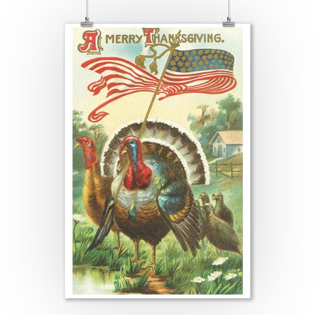 A Merry Thanksgiving Scene of Turkey Holding US Flag (9x12 Art Print, Wall Decor Travel Poster) (Thanksgiving Scenes)