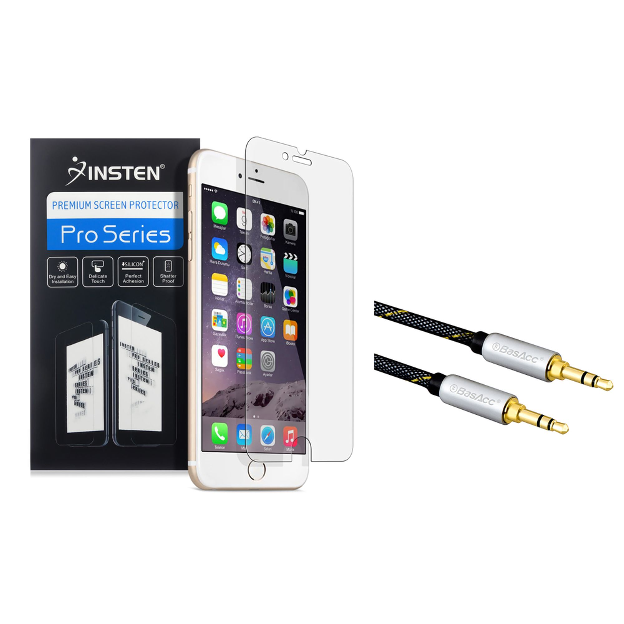 "Insten 3x Anti Glare Screen Protector For iPhone 6 Plus / 6S Plus 5.5"" (with 3.5mm Audio Extension Cable M/M) (2-in-1 Accessory Bundle)"