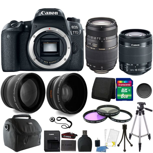 Canon EOS Rebel 77D 24.2MP DSLR Camera with 18-55mm + 70-300mm + 8GB Accessory Kit